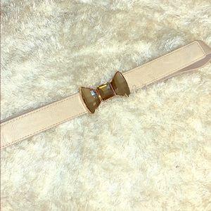 Cream rhinestone bow belt
